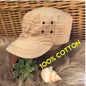 100% Cotton Hat-Wmns Fit-Tan/Distressed-EUC-OSFM